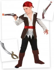 Pack déguisement de pirate garçon avec sabre et pistolet