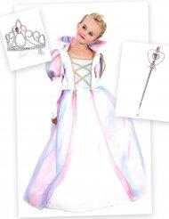 Pack déguisement princesse fille avec couronne et baguette