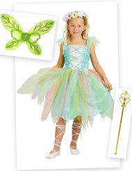 Pack déguisement fée verte fille avec ailes et baguette