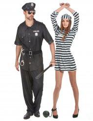 Déguisement de couple policier et prisonnière adultes