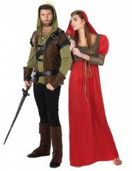 Déguisement de couple homme des bois et princesse médiévale