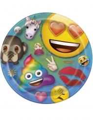 8 Petites assiettes en carton Emoji Rainbow™ 18 cm