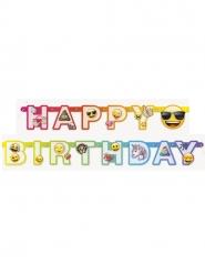 Bannière en carton happy birthday Emoji Rainbow™ 1,8 m