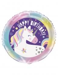 Ballon aluminium happy birthday licorne 45 cm