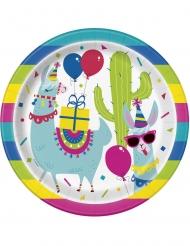 8 Assiettes en carton anniversaire lama 23 cm