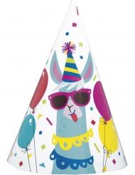 8 Chapeaux de fête en carton anniversaire lama