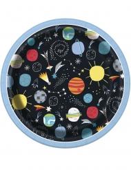 8 Petites assiettes en carton univers noires 18 cm