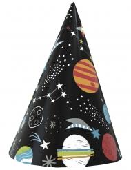 8 Chapeaux de fêtes en carton univers noirs