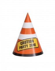 8 Centres de table en carton Caution zone party 14 cm