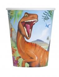8 Gobelets en carton dinosaures 266 ml