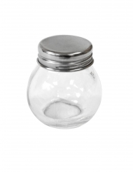 Petit pot en verre rond avec couvercle en acier 5 cm