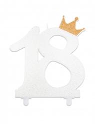 Bougie chiffre 18 blanche avec couronne dorée pailletée 12 cm