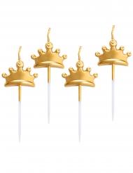 5 Bougies sur pique couronnes dorées métallisées 8 cm