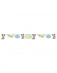 Guirlande en carton bébé Mickey™ bleue 150 x 13 cm