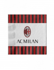 20 Serviettes en papier AC Milan™ 33 x 33 cm