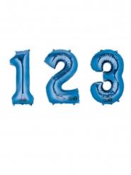 Ballon aluminium chiffre bleu 85 cm