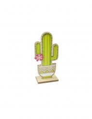 Cactus en bois sur support vert 14 cm