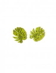 10 Confettis en bois feuilles tropicales 4 cm
