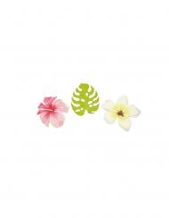 9 Confettis en bois fleurs et feuilles tropicales 3,8 cm