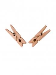 25 Pinces à linge en bois rose gold 6 x 3 cm