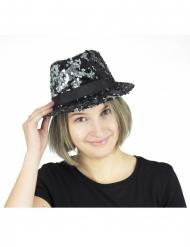 Borsalino sequins réversibles noir et argent adulte