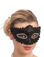 Masque en plastique avec dentelle noire et strass adulte