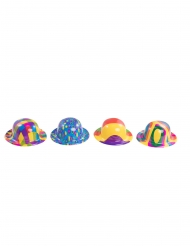 Mini chapeau melon en plastique clown adulte