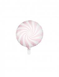 Ballon aluminium sucette rose et blanc 45 cm