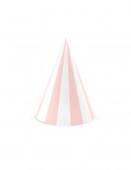 6 Chapeaux de fête en carton roses et blancs 10 x 16 cm