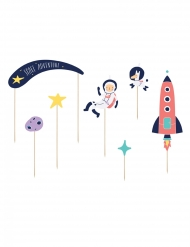7 Cake toppers en carton space adventure 9,5 - 24,5 cm