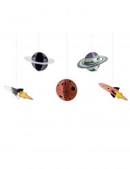 5 Suspensions en carton space adventure 17 x 10 - 19 x 7 cm