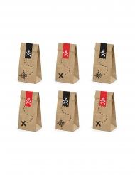 6 Sacs cadeaux en papier kraft fête de pirate 8 x 18 x 6 cm