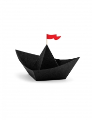 6 Bateaux de pirate en papier origami noirs 19 x 10 x 14 cm