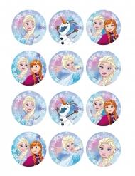 12 Décorations en amidon pour biscuits La Reine des Neiges™ 6 cm