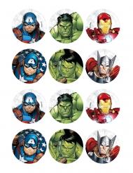 12 Décorations en azyme pour biscuits Avengers™ 5 x 8 cm