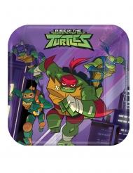 8 Petites assiettes carrées Le Destin des Tortues Ninja™ 18 x 18 cm
