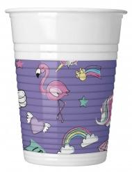 8 Gobelets en plastique Minnie et la licorne™ 200 ml