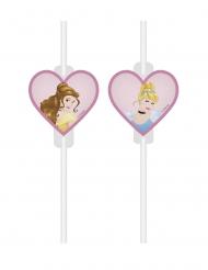 4 Pailles médaillon en carton Princesses Disney™ cœurs