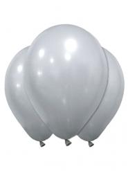 12 Ballons en latex argentés 28 cm