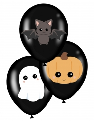 6 Ballons en latex sweety halloween noirs 28 cm