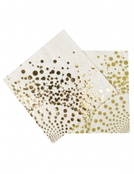 16 Serviettes dorées luxe 33 x 33 cm
