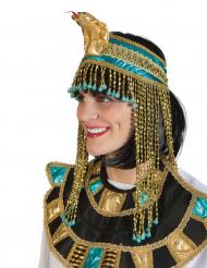 Coiffe reine égyptienne bleue et or adulte