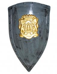 Bouclier gris et doré plastique 75 x 45 cm
