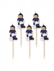 5 Bougies sur pic footballeurs bleus et noirs 8 cm