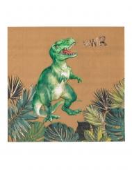 16 Serviettes en papier dinosaure vertes et dorures 33 x 33 cm