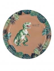 8 Assiettes en carton dinosaure vertes et dorées 23 cm