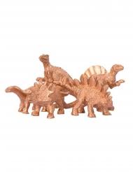 5 Dinosaures décoratifs dorés 6 x 1,5 cm