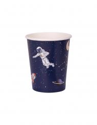 8 Gobelets en carton astronaute marine et doré 250 ml