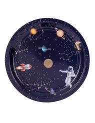 8 Assiettes en carton astronaute marine et doré 23 cm