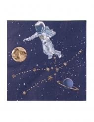 16 Serviettes en papier astronaute marine et doré 33 x 33 cm